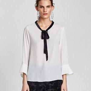 NWT ZARA White Shirt with Velvet Bow Detail